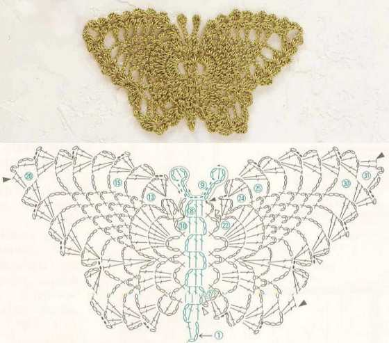 Схема вязания ажурной бабочки