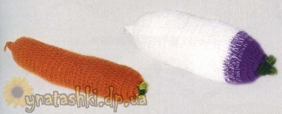 Вязаные овощи (морковка и