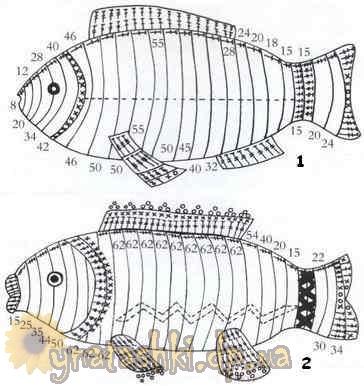 Рыбки вяжутся по кругу.