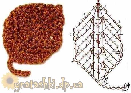 Вязание крючком букового листа