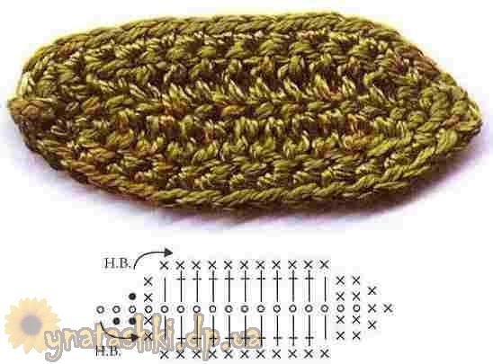 Вязание листочков крючком, схемы вязания листочков .