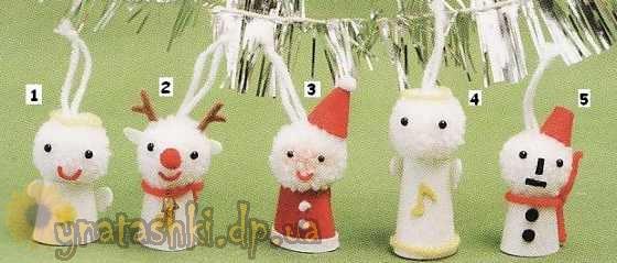 Новогодние игрушки из помпонов