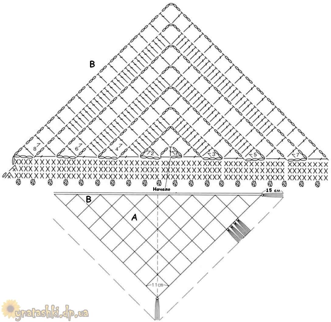 Схема вязания крючком треугольника фото 343