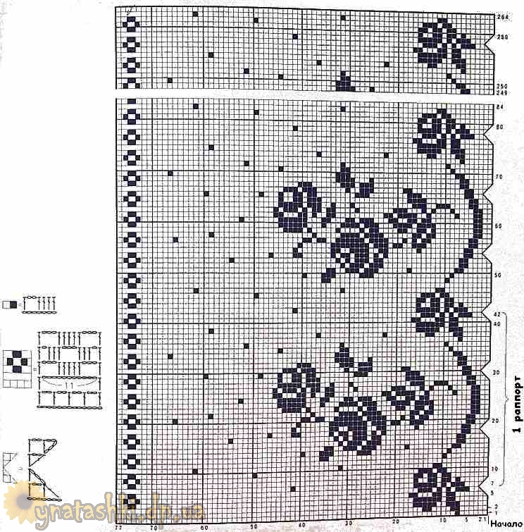 схема вязания шторы с розами
