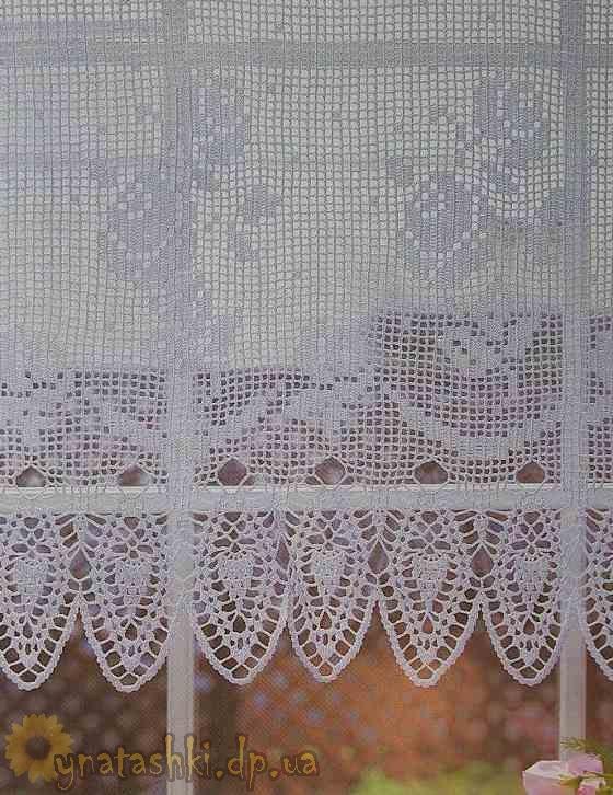 Вязаные шторы с розами