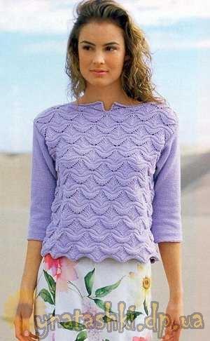 Пуловер с волнистым узором