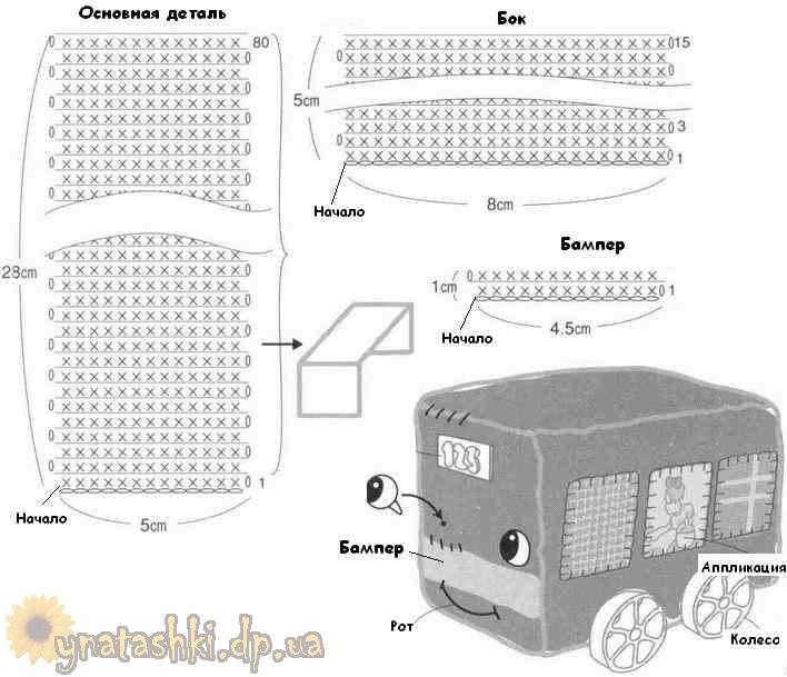 Схема вязания автобуса
