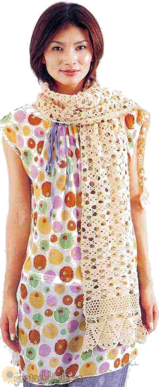 Вязаный весенний шарф