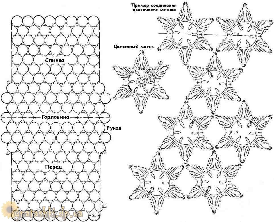 Вязание из цветочных мотивов крючком схемы 1