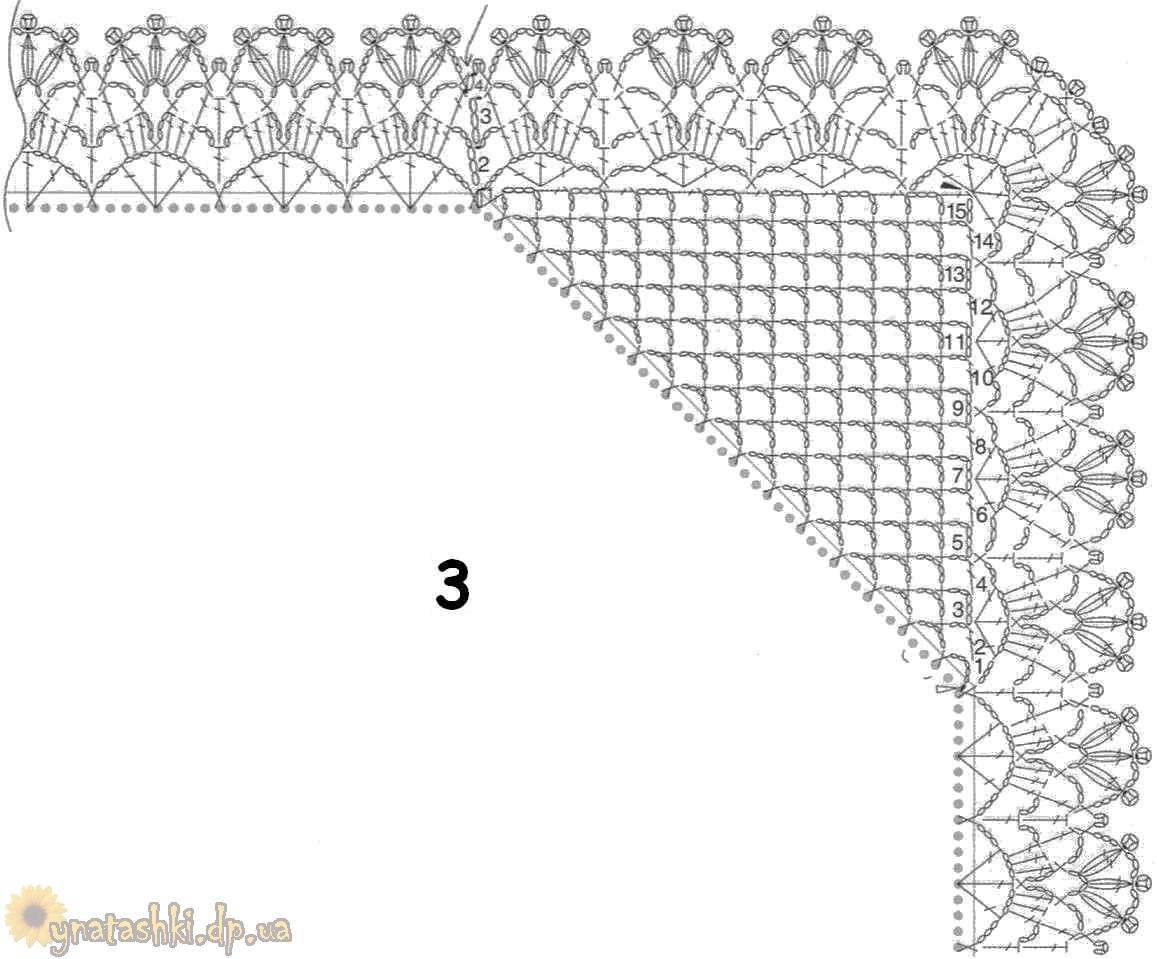 А вот обрезанный квадрат заменяет очень нежная бабочка.  Схема вязания бабочки, представлена на ниже приведенном.