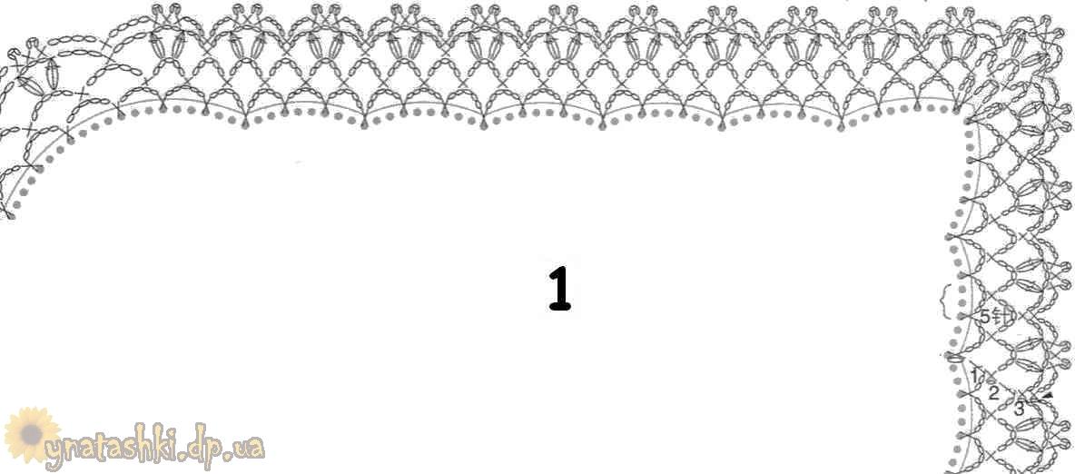 Вместо него связан квадрат с небольшим цветочком.  Схему обвязки такого платка можно найти на следующем рисунке.