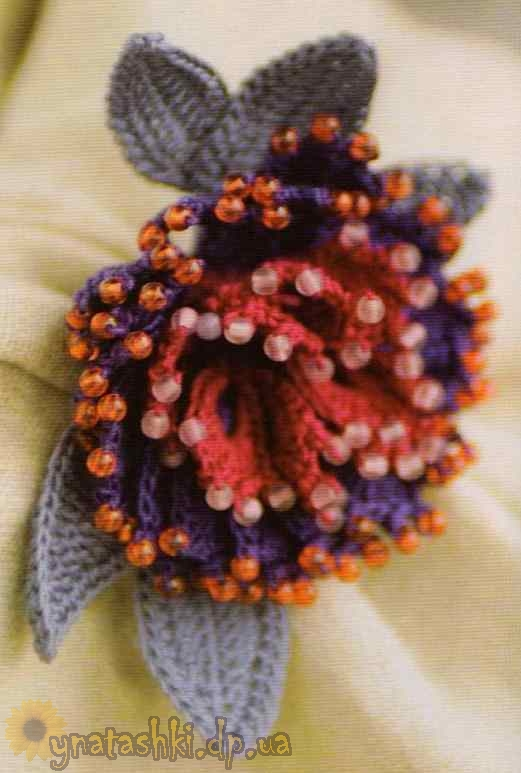 Брошь цветок связанная крючком.Схема. фыр.