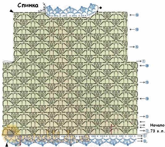 Схема вязания кофты - спина