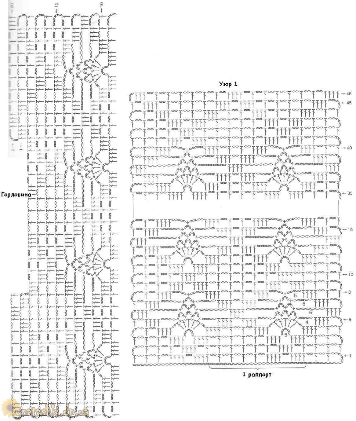 Схема вязания накидки-жилетки
