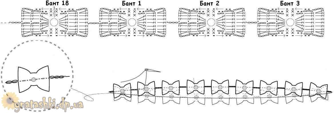 Схема вязания бантика
