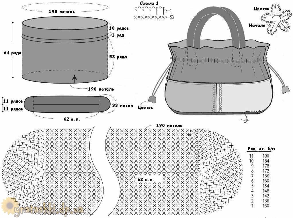 Крючок. схема вязания сумки 210