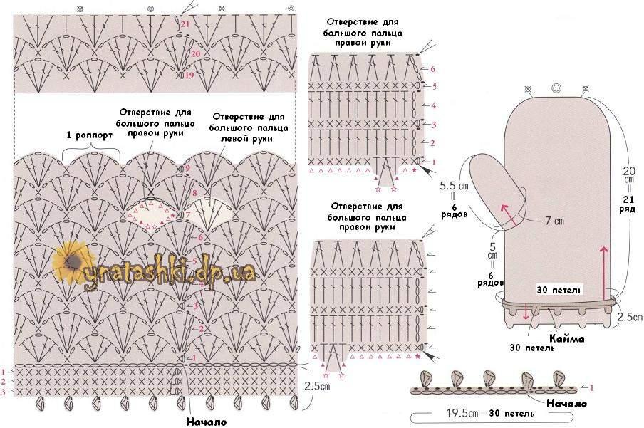 Схема вязания варежек ажурных