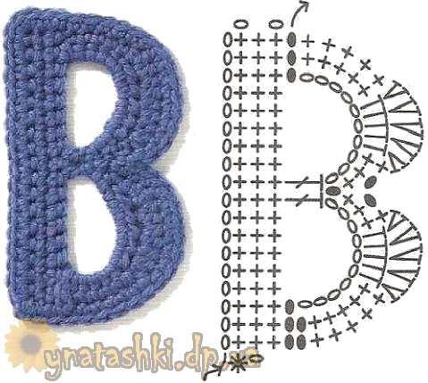 Вязаная буква B /></div> <div align=