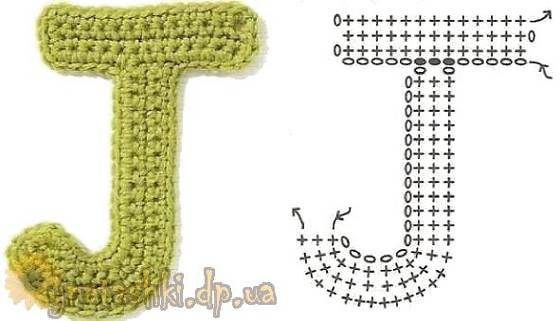 Вязаная буква J