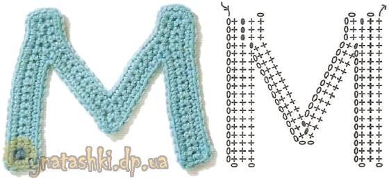 Вязаная буква M