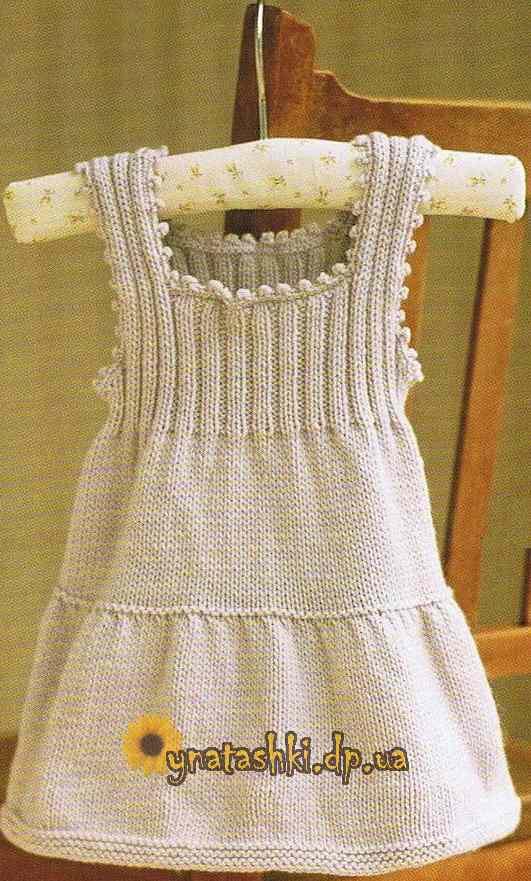 Вязанные летние детские платья спицами