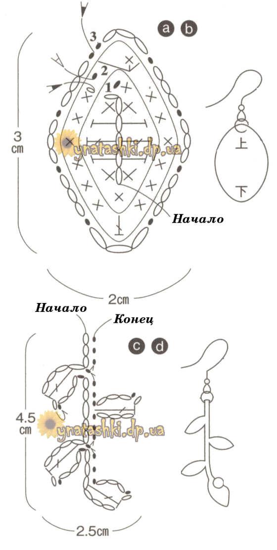 Схемы вязания сережек