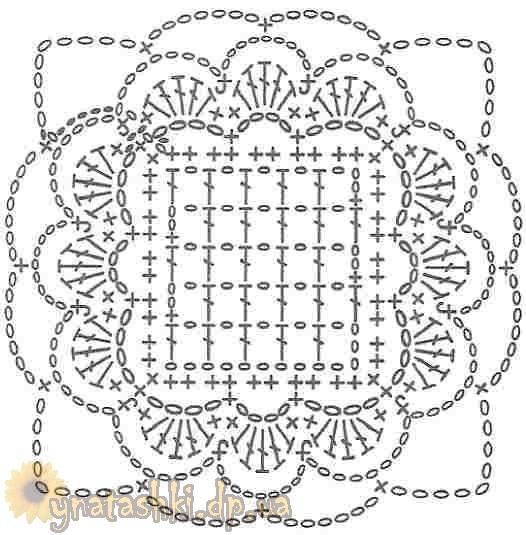 Квадратные мотивы вязание крючком - Вязание крючком мотивы со схемами.